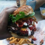 A close up view of my burger