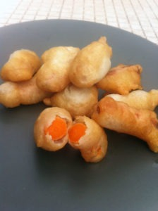 Deep fried baby carrots
