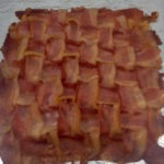 My bacon weave pizza crust after cooking for ten minutes