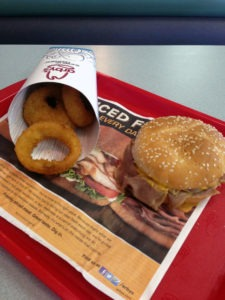 Arby's Beef 'n Cheddar and onion rings