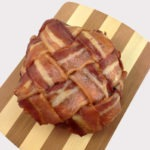 The bacon weave wrapped around a burger patty