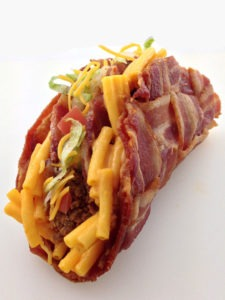 The Double Decker Mac & Cheese Stuffed Bacon Weave Taco