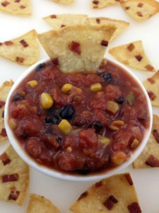 Bacon and corn tortilla chips