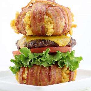The Bacon Wrapped Macaroni and Cheese Bun Cheeseburger