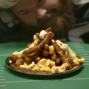 Brown Gravy and Cheese Curd-Smothered Brat Sticks