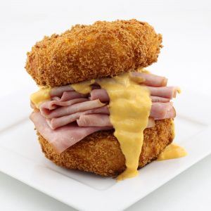 The Hot Ham & Cheese With a Deep Fried Macaroni and Cheese Bun