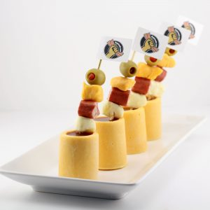 Mini Bloody Marys in Edible Cheddar Cheese Shot Glasses