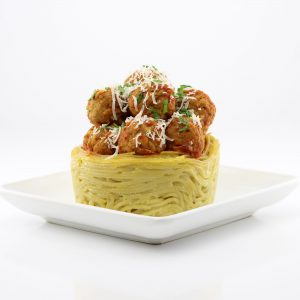 Meatballs in Edible Spaghetti Noodle Bowls