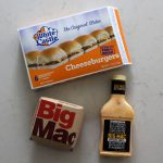 White Castle sliders, a Big Mac and a bottle of Big Mac sauce.