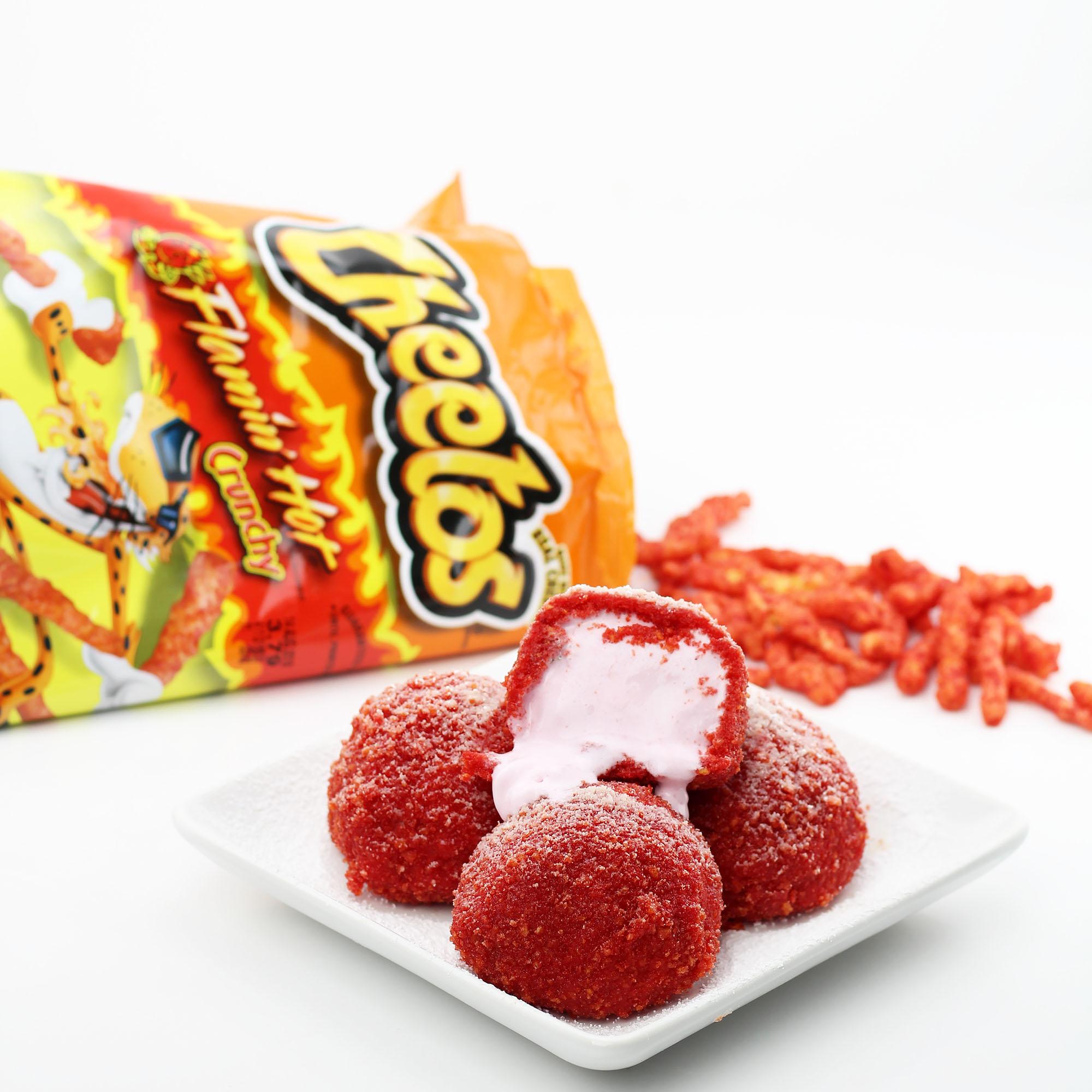 Flamin Hot Cheetos Breaded Deep Fried Ice Cream Dudefoods Com