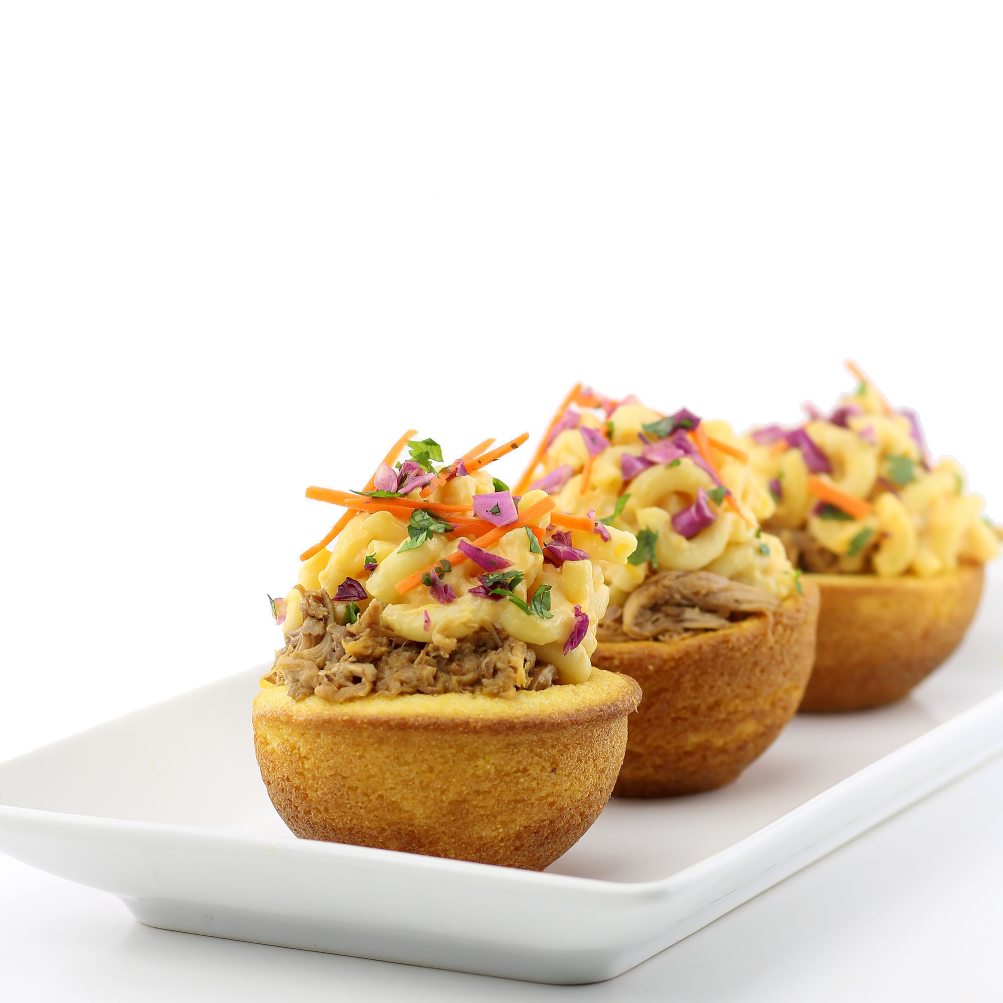 Pulled Pork, Mac & Cheese & Red Cabbage Slaw in Edible Cornbread Bowls
