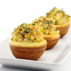 Elote in Edible Corn Bread Bowls