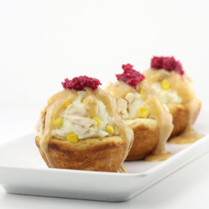 Thanksgiving Leftovers in Edible Biscuit Bowls