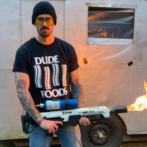 DudeFoods.com White T-shirtDudeFoods.com Black Black Flag T-shirt