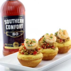 Cajun Rice and Shrimp in Cornbread Bowls
