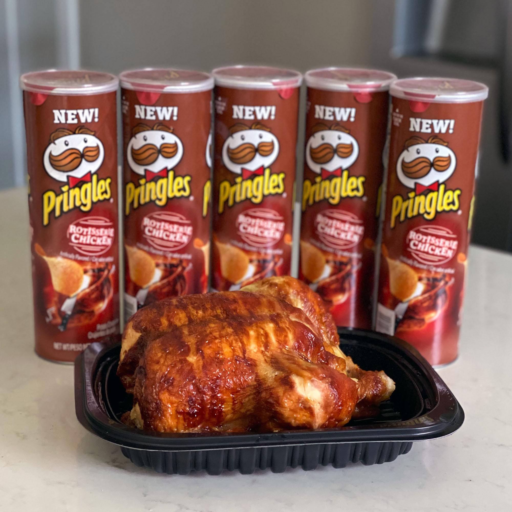A Costco rotisserie chicken and Rotisserie Chicken Pringles