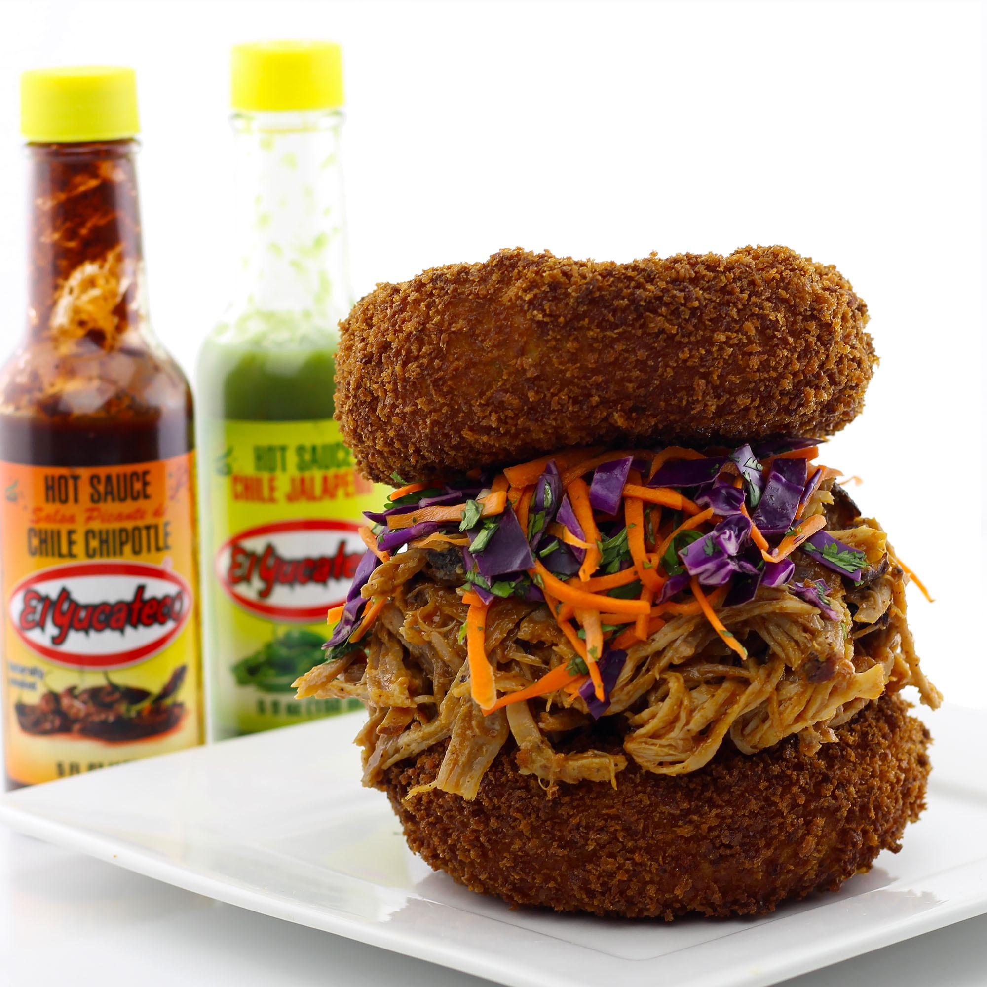 Pulled Pork Sandwiches With Deep Fried Macaroni and Cheese Buns